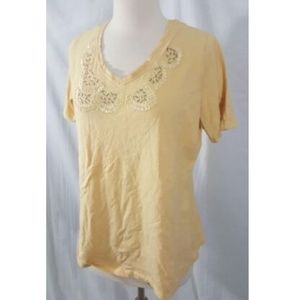 3/25 Tanjay Petite Embroidered T-Shirt MP Yellow